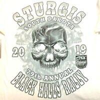 Sturgis t Shirt Small Skull 79th Annual Black Hills Rally White NEW Ships Free