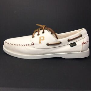 Allen Edmonds Fastball Pittsburgh Pirates Boat Deck Shoes White Baseball Sz 12 D