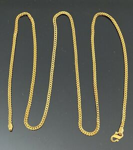 "22k fine gold wheat chain necklace 24"" long 2mm India Mens Ladies 15 Grams .916"