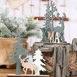 Wooden Christmas Ornament Elk Candle Holder Table Decor DIY Home Xmas Orname OH