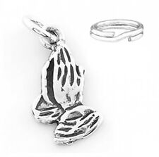 """SILVER """"PRAYING HANDS"""" CHARM WITH SPLIT RING"""