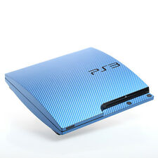 BLUE CARBONIO PS3 SLIM CON TEXTURE pelle-Full Body Wrap-Decalcomania Adesivo Cover