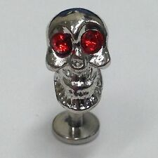 Red Jewelled Skull 316L Surgical Steel Labret, Lip Ring