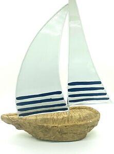 Bath & Body Works Home Decor White & Blue Sailboat Sail Boat Decoration Summer