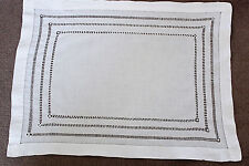 Vintage white linen cloth with drawn thread work.