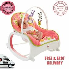 Fisher Price Infant Toddler Rocker Floral Confetti Play Soothe Feed Vibrate Fun