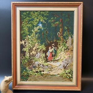Vintage 70-80s Professionally Framed Wool Tapestry 49x39cm Lovers in the Wood