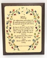 Vintage Wooden Plaque House Blessing Poem Harriet B McCormick Flowers Kitsch