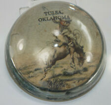 Souvenir glass paperweight, cowboy on bucking bronco horse from Tulsa, Oklahoma!