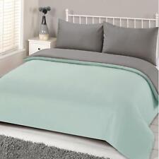 Brentfords Reversible Duvet Cover with Pillowcase Mint Green Grey Bedding Set