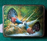Russian GICLEE Lacquer Box Small Capercaillie Grouse Cock of the Wood Genuine