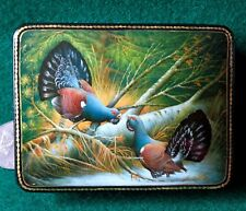 Genuine Russian small GICLEE Lacquer Box Capercaillie Grouse Cock of the Wood