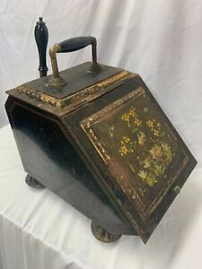 Antique 19th Century Hand Painted Tin Coal Scuttle With Shovel & Original Liner