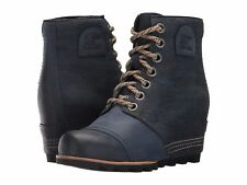 SOREL PDX Wedge Leather/Canvas Lace Up Ankle Boots Collegiate Navy Sizes 6-10