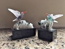 TWO CARVED GEMSTONES HUMMINGBIRDS ON QUARTZ ROCKS - PETER MULLER