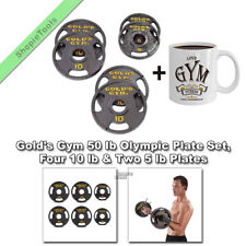"Gold Gym Weights Set Olympic 50 LB 2"" Holes Cast Iron Plates 10lb & 5lb With Mug"