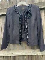TAHARI ARTHUR LEVINE LUXE size 10 Large Suit Jacket Blazer Black Beaded Tweed