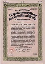 German Treasury 10,000 Reichsmarks Bond dated 1937 cancelled Third Reich eagle