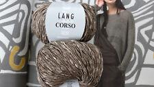 600g CORSO Bändchen Wolle Lang Yarns Häkeln Luxus Taupe Braun Baumwolle Natur