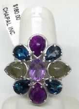 NF MULTI GEM STONE FANCY LARGE TOP STERLING RING (S146)