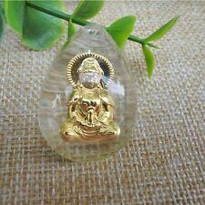 999 24K Yellow Gold & Crystal Pendant Women's & Men Guanyin Pendant