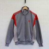Vintage Adidas Full Zip Track Jacket Size Medium Gray Red Trefoil 3 Stripe 80s