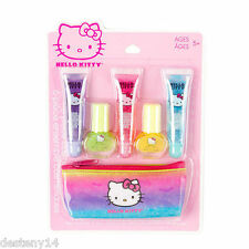 Hello Kitty 6 Piece Girl's Cosmetic Set Lip Gloss Glitter Case Purse Gift Makeup