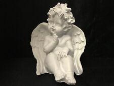 Engel Dekofigur Engelsfigur sitzend Dekoration Skulptur Weiß Weihnachten Deko