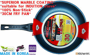 Kitchen Art Marble Stone Non Stick Frying Pan Heat Sensor& IH Induction proved!!