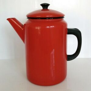 Vintage Enamel Ware Kockums Sweden Large 2l Coffee Pot Red Stove Top Red retro