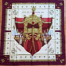 Vintage Hermes Vue Du Carrosse De La Galere La Reale Red/Gold Silk Scarf 90cm
