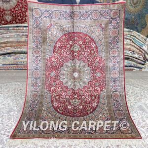 Yilong 4'x6' 500Lines High Density Area Rug Red Hand Knotted Silk Carpets MC488H
