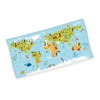 Weltkarte Velourstuch Duschtuch Badetuch Strandtuch 75 x 150cm