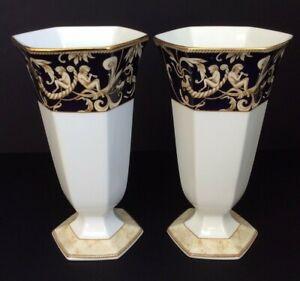 Pair of Wedgwood Cornucopia Vases Hexagonal IL