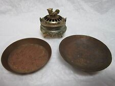 4 PIECE INCENSE BURNER BOWL WITH LID & 2 BRASS PLATES MADE IN CHINA JAPAN INDIA