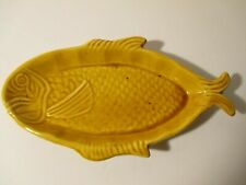 Vintage French Vallauris Ochre Glazed Pottery Fish Shaped Serving Dish