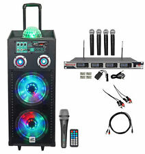 "NYC Acoustics Dual 10"" Karaoke Machine/System w/5 Mics 4 ipad/iphone/Android/TV"