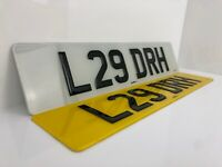 PAIR OF ROAD LEGAL FRONT /& REAR RAISED GEL RESIN DOMED GLOSS BLACK NUMBER PLATES