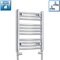 600 mm High 450 mm Wide Chrome Heated Towel Rail Radiator Bathroom Flat & Curved