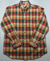 5269 ORVIS Mens Large Button Up Down Shirt Plaid Madras Patchwork Long Sleeve