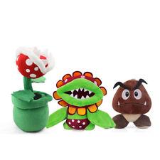 3pcs Super Mario Bros Petey Piranha Plant Goomba Stuffed Toy Plush Doll Set Gift