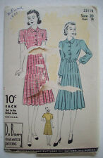 1940's? Du Barry chic flock dress  pattern 2311B  size 20