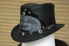 Top Hat, Steampunk, Goth, Grunge, Genuine Leather, Magician