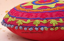 "16"" Vintage Round Pillow Covers Suzani Embroidered Cushions Cotton Pillowcases"