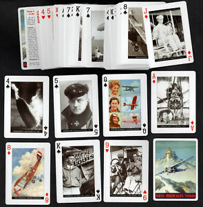Aviation Pioneers Playing Cards Set Aircraft Flying Pilot Zeppelin Lindbergh