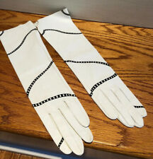 """Rare New Women's White Goat kidskin Opera Gloves Sz 7 Leslie Singer 15"""""""