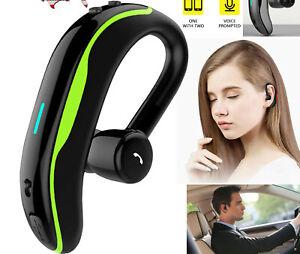Bluetooth Wireless Headset Ear Hook Earphones Noise Cancelling Earbud with Mic