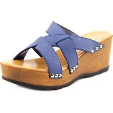 Calzado de mujer sandalias con tiras de color principal azul de piel