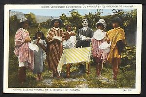 PANAMÁ 01-PANAMÁ -Indios vendiendo sombreros de Panamá en el interior de Panamá
