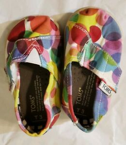 Tiny TOMS Classic Rainbow Polka Dots Size 3 Toddler New Hook and Loop Closure